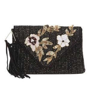 Sam Edelman Designer Black Floral Clutch Purse
